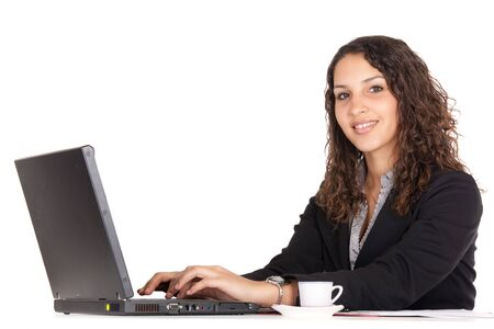 arab people: smiling young business woman using laptop isolated on white
