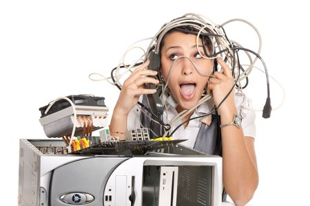 10s: woman in panic having problems with computer trying to reach support line Stock Photo