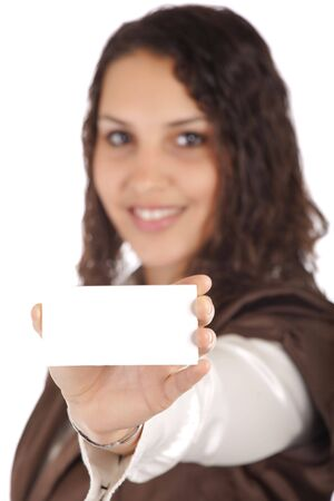 woman showing business card isolated on white, focus on hand photo