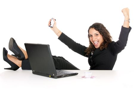 excited young business woman in office having success Stock Photo - 6162939