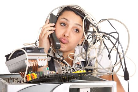 unhappy woman  having problems with computer trying to reach support line photo