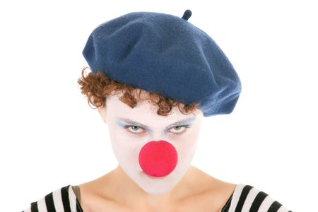 portrait of serious clown woman staring at the camera Stock Photo - 6174942