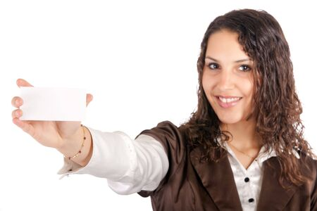 business woman showing card, focus on the hand photo