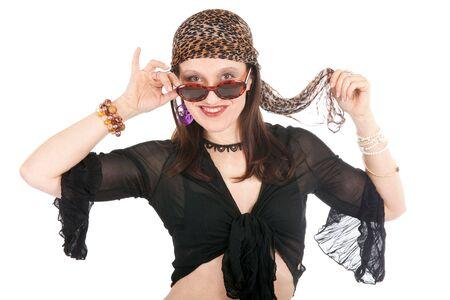 eccentric: eccentric hippy woman portrait isolated on white Stock Photo