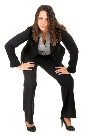 young business woman bending and looking at camera isolated on white Stock Photo - 6401114