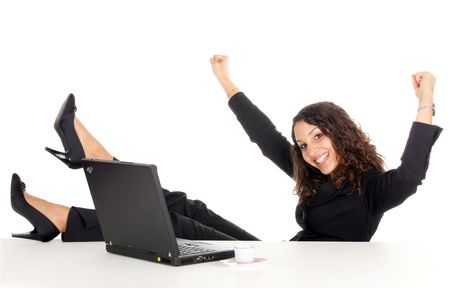 happy young business woman with laptop woman celebrate success photo
