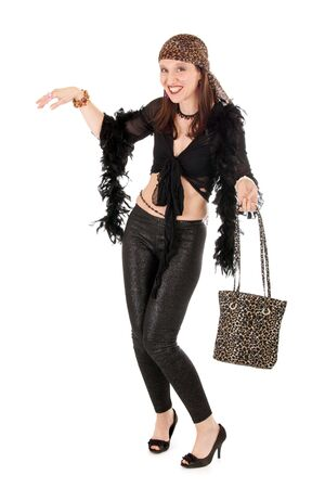 vulgar: full length studio shot of vulgar hippie woman isolated on white Stock Photo
