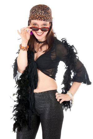 výstřední: eccentric hippie woman with wearing sunglasses and looking at camera