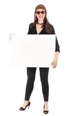 eccentric hippie woman wearing sunglasses holding billboard isolated on white photo