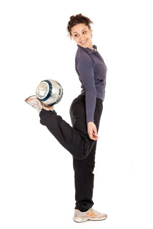 full length soccer woman playing with ball isolated on white photo