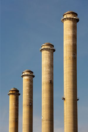 four tall chimneys of thermal power station Stock Photo - 6628035