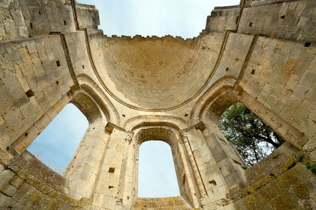 abbey ruins abbey: old abbey ruins la sauve majeure near Bordeaux, in france Stock Photo