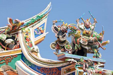 hoon: beautiful buddhism sculptures on Cheng Hoon Teng temple roof, Melaka, Malaysia Stock Photo