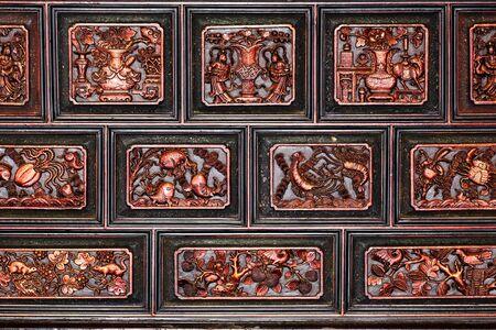 hoon: buddhism wooden engraving in Cheng Hoon Teng temple, Melaka, Malaysia