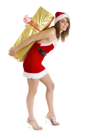 santa claus woman carrying huge package on back photo