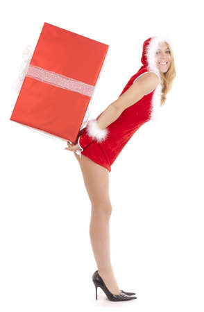 glamor santa woman carrying package on back photo