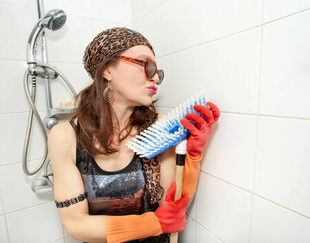 eccentric: eccentric hippie woman loving brush in shower