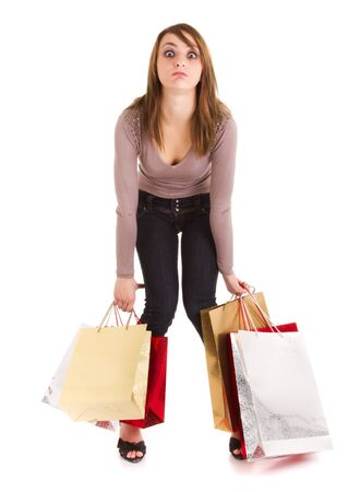 female shopper: young woman bored to shopping isolated on white