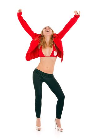 happy blond woman wearing vivid red vest isolated on white