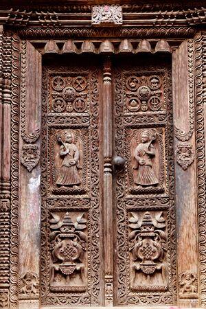 hindu temple wooden carved door, bhaktapur, Nepal Stock Photo - 8744709