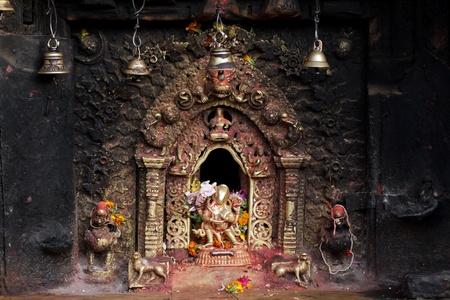 hindu goddess: hindu sacred altar in Bhaktapur, Nepal Stock Photo