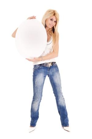 blond woman holding blank oval billboard isoletd on white Stock Photo - 9400383