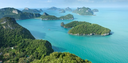 scenic tropical island archipelago panorama in Thailand, ang thong national park photo