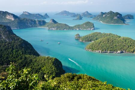 angthong: panoramic view of ko angthkong tropical marine park in Thailand Stock Photo
