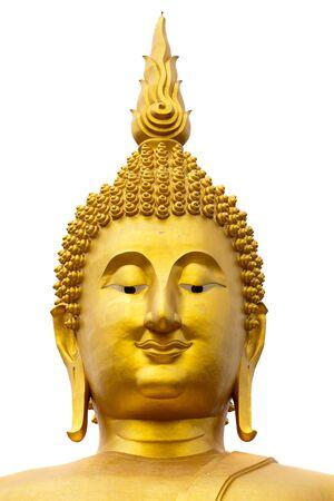 wat muang giant buddha face isolated on white background, Thailand photo