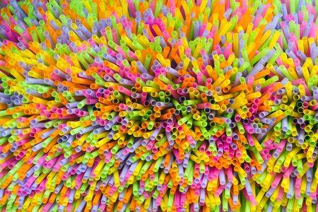 dynamic view of colorful drinking plastic straws photo
