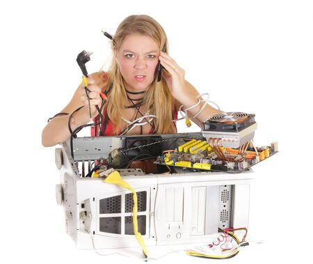 hardware repair: upset blond woman calling support to repair computer