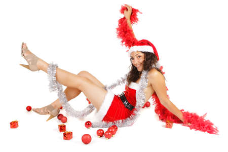 santa woman lying on floor with christmas ornaments photo
