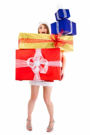 overloaded christmas woman carrying gift pile isolated on white photo