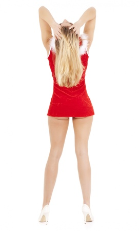 back view of sexy christmas woman isolated on white photo