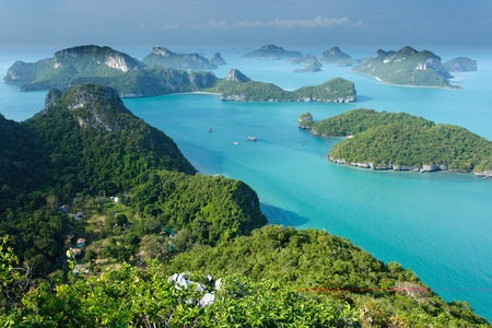 panoramic view of ko angthkong tropical marine park in Thailand photo
