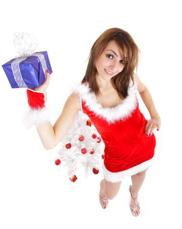 christmas woman with blue package gift and tree photo