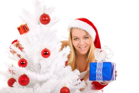christmas woman with gift and ornament tree Stock Photo - 10360446