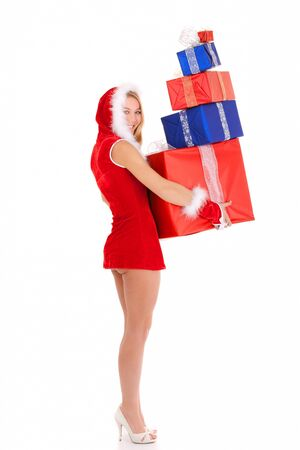sexy christmas woman carrying gift pile isolated on white Stock Photo - 10360437