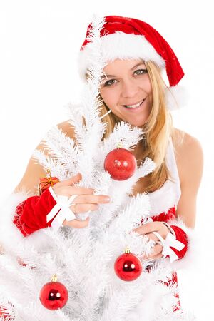 christmas woman and tree with ornament Stock Photo - 10414838