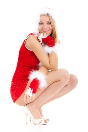 sexy christmas woman posing over white background Stock Photo - 10414842