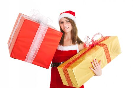 christmas woman holding gift isolated on white photo
