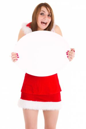 happy christmas woman showing blank oval advert isolated on white photo