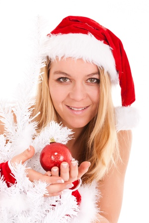 sweet christmas woman with ornament Stock Photo - 10447371