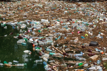pollution: heavy  pollution of floating plastic bottles in Bicaz lake water, Romania Stock Photo