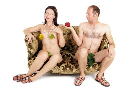 adam eve: man giving red apple to woman, original sin concept