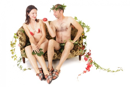 adam and eve original sin concept, man seducing woman photo