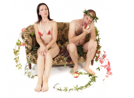 adam eve: nude kitsch couple relationship conflict isolated on white