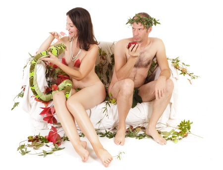 nude couple original sin concept, conflict and jealousy photo