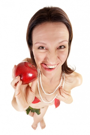 funny crazy woman holding red apple isolated on white photo