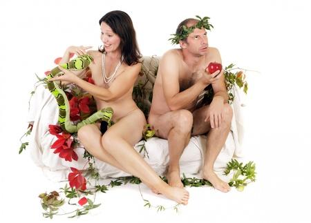 jalousie: kitch Adam et Eve ayant quelques probl�me de relation Banque d'images